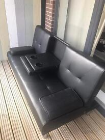 3 seater sofa bed wth cup holders in black