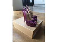Ladies shoes, Jenny 150 satin purple (amethyst) Louboutins