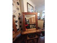 Hydrolic barbers chair and bespoke mirrors x2
