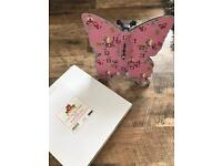 Brand new pink butterfly clock in box