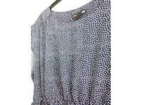 H&M Mama navy polkadot dress with belt size 12