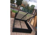 Ottoman black leather double bed with frame
