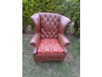 CAN DELIVER - CHESTERFIELD HIGH BACK ARMCHAIR - HAS SOME DAMAGES