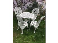 Lovely Pale Green Cast Metal Table and 4 Chairs