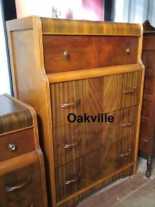 "DRESSER 30X18X46"" Antique Tall ART DECO ERA Rare Beautiful inlaid wood Mahogany Chest of Drawers Retro Vtg Lucite"