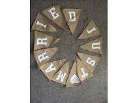 Rustic wedding items - napkin holders and bunting