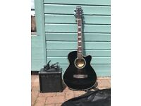 Benson semi acoustic electric guitar and starter amplifier