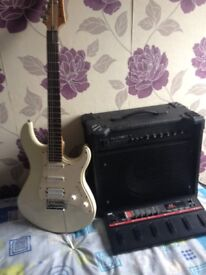 Yamaha Pacifica and Korg A5 Multi paddel and LINEBACKER amp