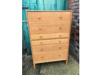 Stag blonde Retro vintage tall chest of drawers