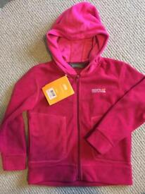 NEW Regatta fleece coat/jacket/hooded top, age 5-6, pink.