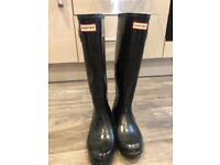 original tall black gloss hunter wellies