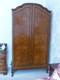 Walnut Veneer Double Wardrobe & Dressing Table With Mirror