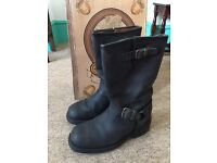 LOBLAN 501 genuine Black Leather classic biker boots SIZE UK9 EU43 US10 £40