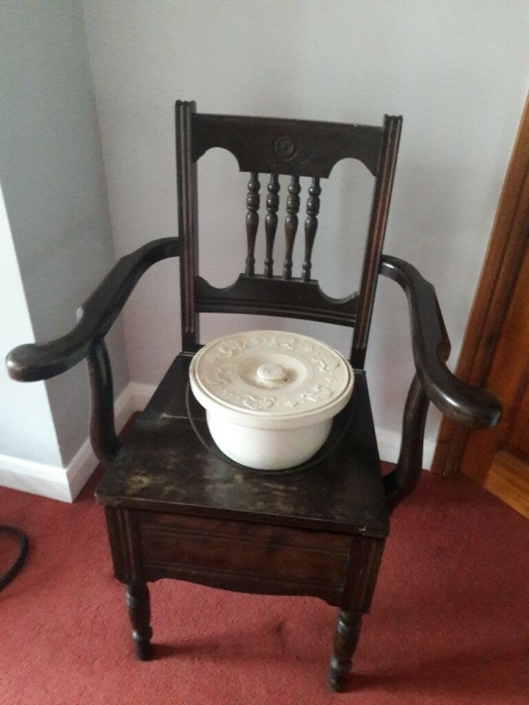 Antique Commode Chair with Ceramic Pot - Antique Commode Chair With Ceramic Pot In Woodthorpe