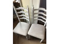 4 white painted dining chairs
