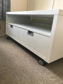 White, Gloss finish Ikea TV Cabinet (only selling due to mounting TV on wall)
