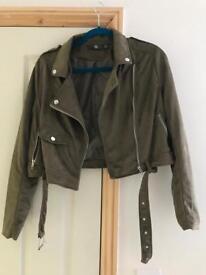 Cropped suede biker jacket