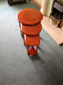Nest of 3 occasional tables. Mahogany colour.