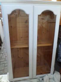 PINE PAINTED GLASS DISPLAY CABINET with key