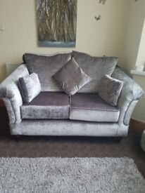 2 seater and 3 seater silver/gray luxury velvet couch
