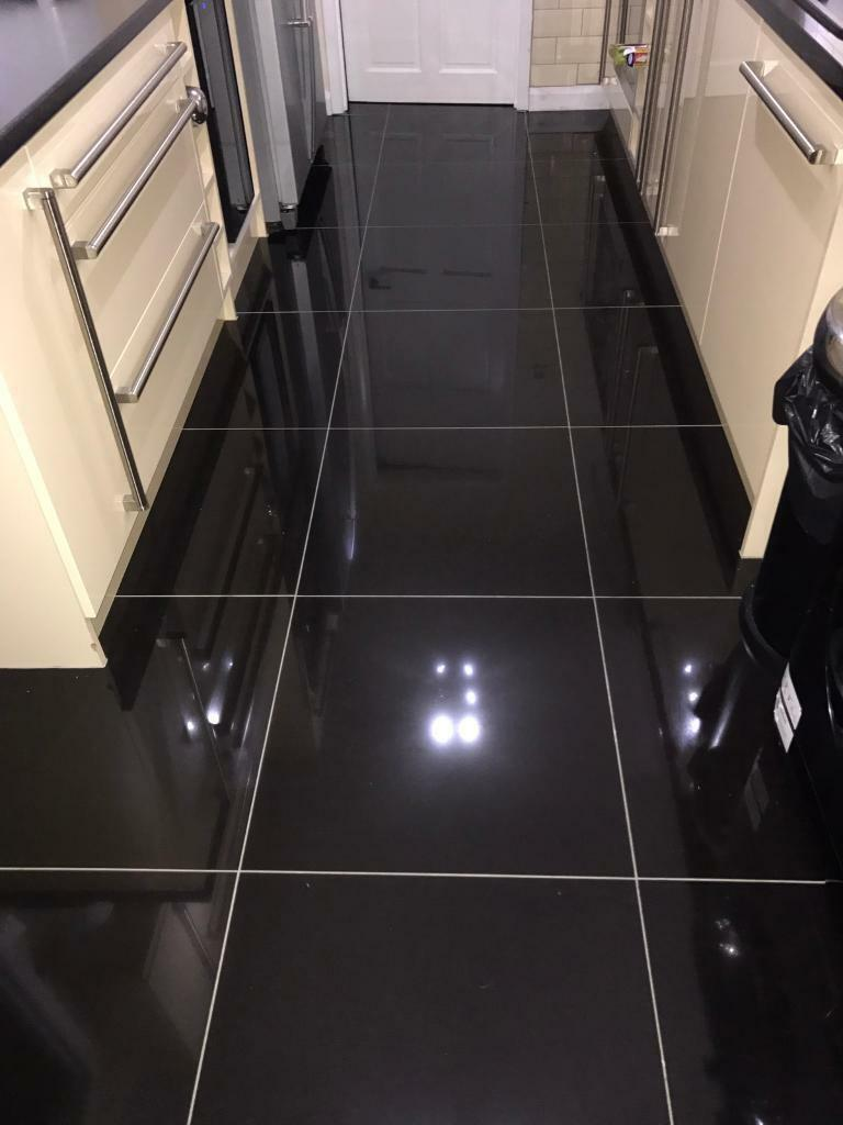 High gloss black porcelain floor tiles 600x600 in for Dark tile kitchen floor