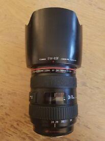 Canon EF 24-70mm F/2.8 L USM Lens, with hood and B+W UV filter - Canon 24-70 2.8