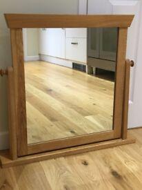 Solid Oak Dressing Table Mirror, 75(W)x70(H)cm
