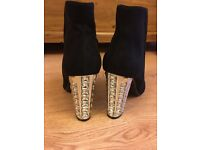 Black suedette ankle boots, size 6, with stunning heel