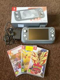 Nintendo Switch Lite (Grey) + Games + Case
