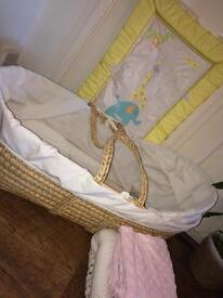 Mosses basket & changing mat couple blankets