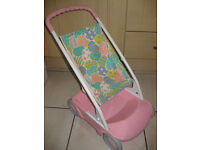 STURDY TODDLER (TOY) PUSHCHAIR in pink with underneath basket + free DOLL