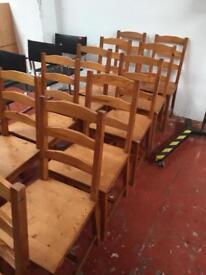 Pine chairs x14