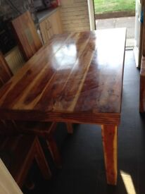 Pine kitchen table 4 chairs
