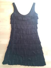 Ladies black layered Twenties style dress from Express USA (size small - 10-12 UK)