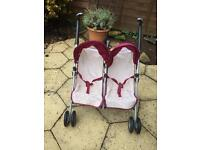 Baby doll double stroller