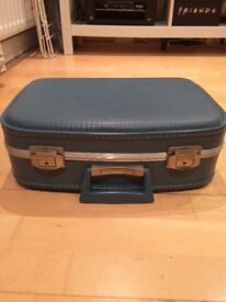Vintage blue suitcase vanity case with lining and mirror