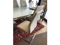 New**Stunning 6 taupe leather dining chairs