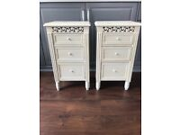 Bedside tables chest of drawers x 2 pair ivory Belgravia wooden storage excellent condition