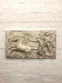 Large plaster of paris vintage relief of Alexander the Great antique