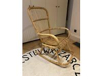 Mid century vintage bamboo cane rocking chair
