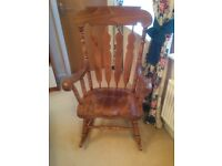 Beautiful antique-pine rocking chair.