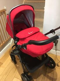 Silver cross Chilli red pioneer pram, carry cot, car seat and attachments