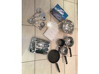 Kitchen starter set, pans, cutlery set, table mats, colander, iron