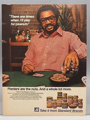 Vintage Magazine Ad Print Design Advertising Planters Nuts Reggie Jackson