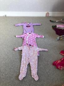 3 x baby girl sleepsuits