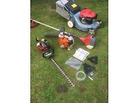 complete garden care set up. Honda mower, stihl blower,Efco strimmer,hedge cutter