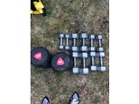 40kg dumbells and random set