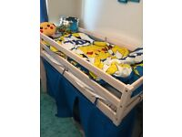 Kids storage sleeper cabin single bed with tent and mattress