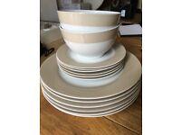 18 piece crockery set. Plates bowls, cream and white