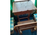 Much Loved, Sturdy, Solid Oak Victorian School Desk